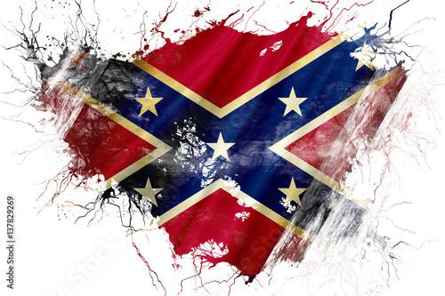 Grunge old Rebel symbol flag Canvas Print