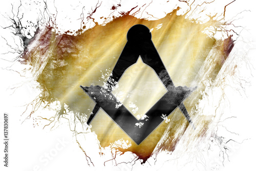 Fotografia, Obraz  Grunge old freemason sign flag