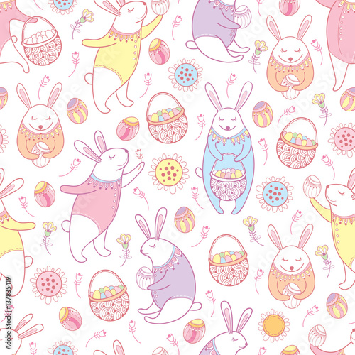 Cotton fabric Vector seamless pattern with outline Easter rabbits, egg, basket and flowers in pastel colors on the white background. Cute cartoon bunny and eggs in contour style for holiday Happy Easter design.