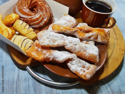 Stampa su Tela Angel wings (Faworki), cakes deep fried in oil to celebrate Fat Tuesday and cookies and donut Vienna