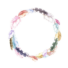 Feathers. Vintage wreath border, boho style. Watercolor