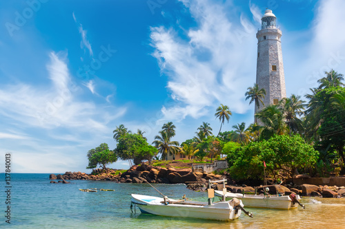 Montage in der Fensternische Leuchtturm Sri Lanka, Lighthouse Dondra Head.