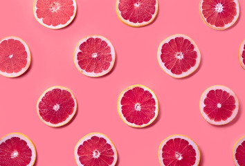 Colorful pattern of grapefruit slices