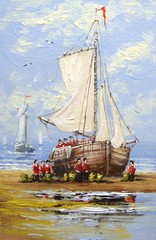 FototapetaSea, boats, fisherman, oil paintings