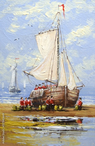 Sea, boats, fisherman, oil paintings - 137842669