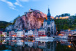 canvas print picture - View of Dinant (Belgium) in evening