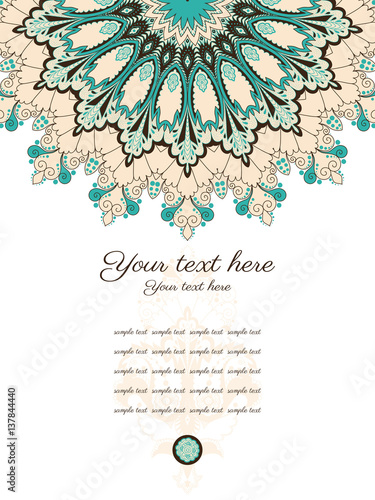 Tuinposter Abstract bloemen Card with ornate patterns. Space for your text. Easily edit the colors. Perfect for invitations, announcement or greetings.