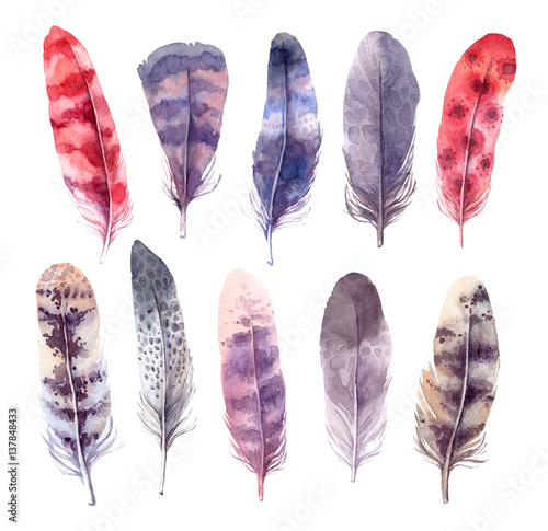 Papiers peints Style Boho Hand drawn illustration - Watercolor feathers collection. Aquarelle boho set. Isolated on white background. Perfect for invitations, greeting cards, posters, prints