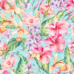 Fototapeta Egzotyczne Watercolor floral tropical seamless pattern.