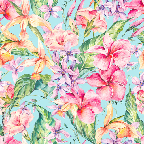 Watercolor floral tropical seamless pattern.  - 137848632