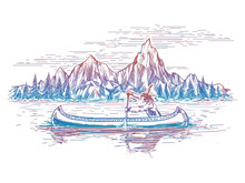 Native American In The Boat And Mountain. Vector Colorful Mountain And River Landscape