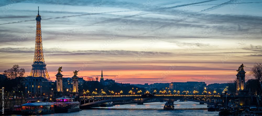 Paris cityscape with Tour Eiffel and Pont Alexandre III at twilight