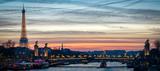 Fototapeta Fototapety z wieżą Eiffla - Paris cityscape with Tour Eiffel and Pont Alexandre III at twilight