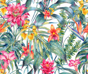 FototapetaWatercolor floral tropical seamless pattern.