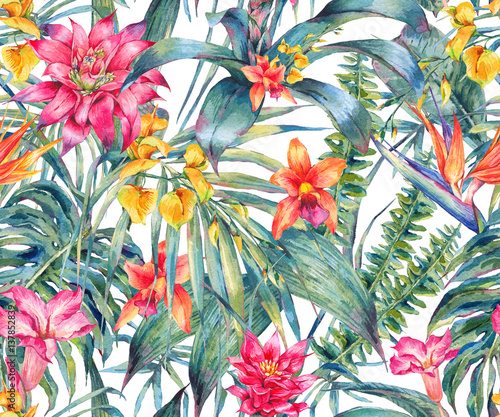 Watercolor floral tropical seamless pattern.  - 137852839