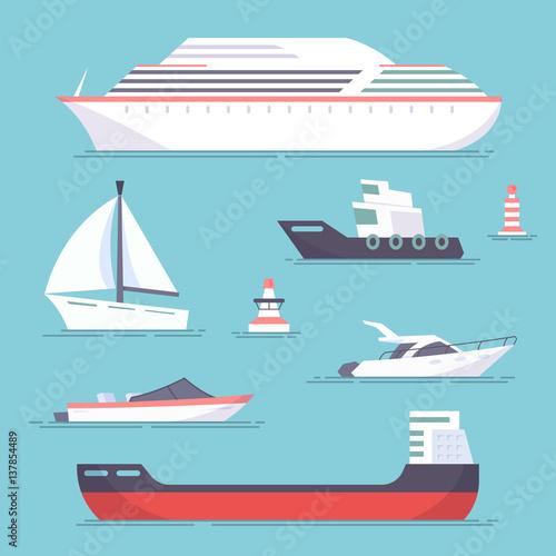 Canvas Print Set of marine ships, boats, yachts and sailing tanker