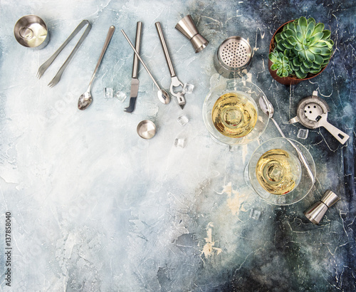 drink-making-tools-ingredients-cocktail-champagne-succulent