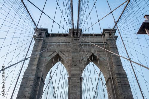 Montage in der Fensternische Brooklyn Bridge The Brooklyn Bridge - New York, USA
