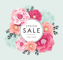 Spring Sale Poster With Beauti...