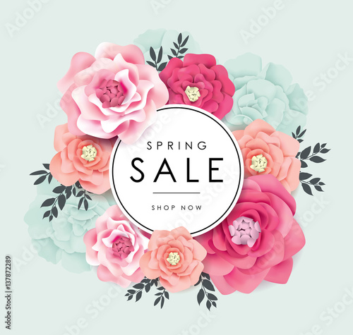 Fotografie, Obraz  Spring sale poster with beautiful blossom flowers