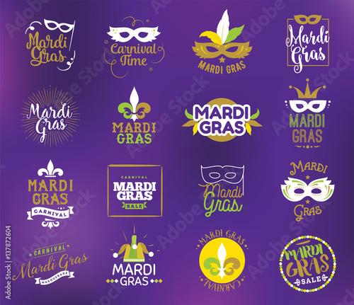 Mardi Gras typography set. Wall mural