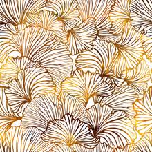 Ginkgo Leaves Autumn Seamless Pattern