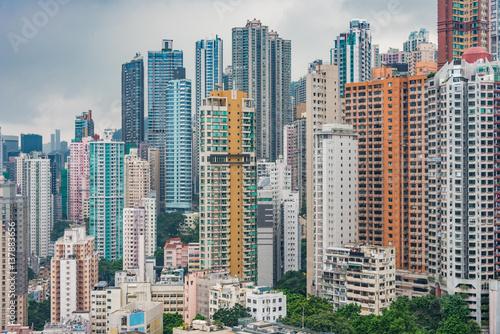 Photo  Hong Kong apartment block in China.