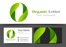 O Letter With Green Leaves Corporate Logo And Business Card Sign Template. Creative Design With Colorful Logotype Visual Identity Composition Made Of Multicolored Element. Vector Illustration