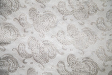 The Brocade Fabric White Silver Color Rectangular Background