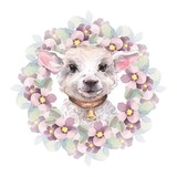 Goatling. Cute watercolor illustration. Hand drawn yeanling. Floral wreath - 137890016