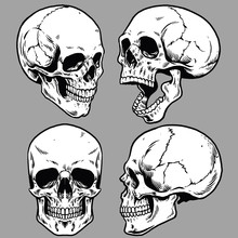 Set Of Skull In Hand Drawing S...
