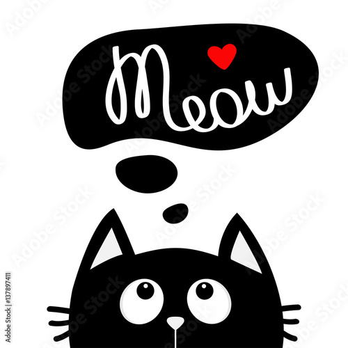 Canvas Print Black cat looking up to meow lettering text