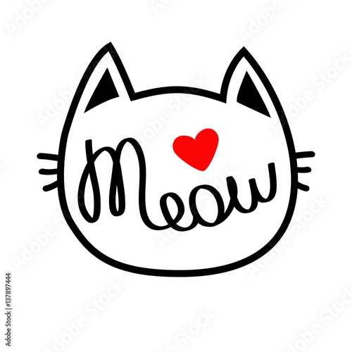 White Cat Head Silhouette Shape Meow Lettering Text Cute Cartoon Character Red Heart Love Card Kawaii Animal Baby Pet Collection Sign Symbol