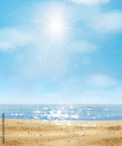 Foto Rollo Basic - Vector  ocean with blue  sky and sandy beach. (von rvika)