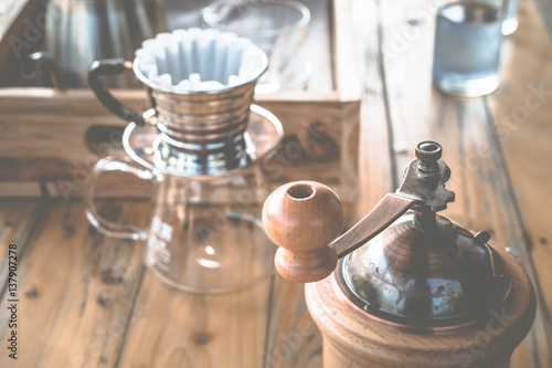 Valokuva  Close up of drip Coffee set.