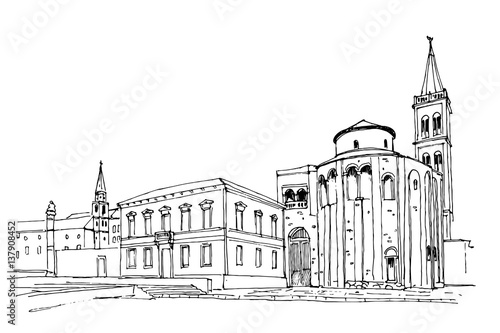 Tuinposter Drawn Street cafe Vector sketch of church of St. Donat on the roman forum, Zadar, Croatia