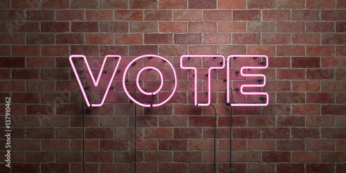 VOTE - fluorescent Neon tube Sign on brickwork - Front view - 3D rendered royalty free stock picture Canvas Print