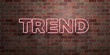 canvas print picture - TREND - fluorescent Neon tube Sign on brickwork - Front view - 3D rendered royalty free stock picture. Can be used for online banner ads and direct mailers..
