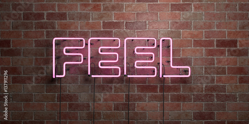 Photo  FEEL - fluorescent Neon tube Sign on brickwork - Front view - 3D rendered royalty free stock picture