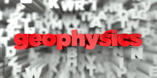 Fényképezés geophysics -  Red text on typography background - 3D rendered royalty free stock image