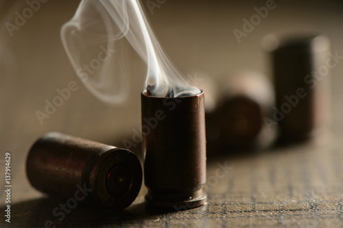 Fotografie, Obraz  Empty 9mm bullet shell casings
