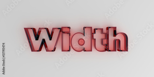 Fotografia, Obraz  Width - Red glass text on white background - 3D rendered royalty free stock image