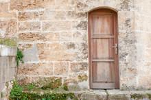 Wall With Wooden Vintage Door.