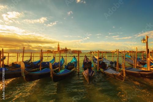 Foto auf AluDibond Stadt am Wasser Gondolas near St.Mark square (Piazza San Marco) in Venice. Italy.