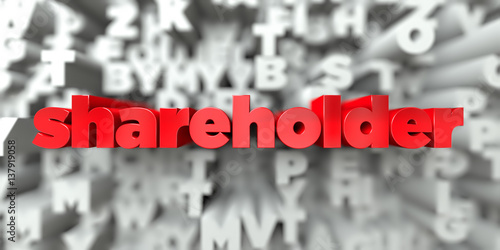 Fotografía  shareholder -  Red text on typography background - 3D rendered royalty free stock image