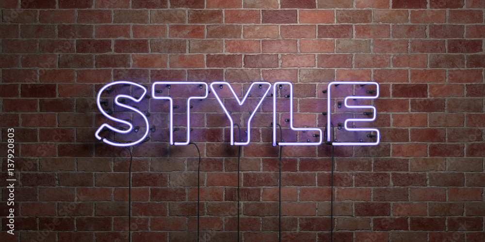 Fototapeta STYLE - fluorescent Neon tube Sign on brickwork - Front view - 3D rendered royalty free stock picture. Can be used for online banner ads and direct mailers..
