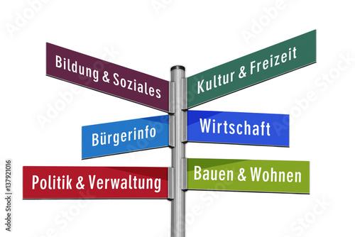 Fotografía  Wegweiser Stadtverwaltung, bunt