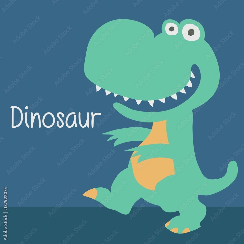 Cute Dinosaur Cartoon Character For Birthday Card Design Template Foto Poster Wandbilder Bei EuroPosters