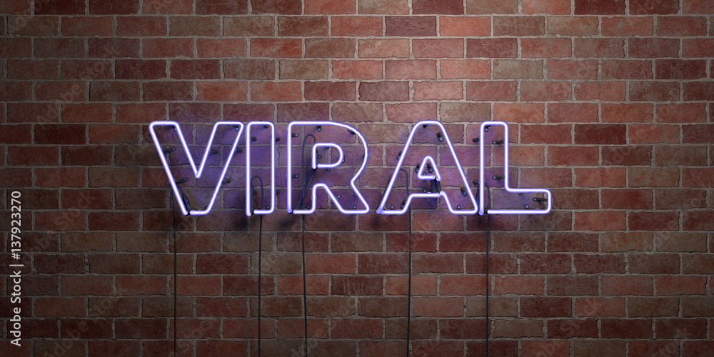 Fototapeta VIRAL - fluorescent Neon tube Sign on brickwork - Front view - 3D rendered royalty free stock picture. Can be used for online banner ads and direct mailers..
