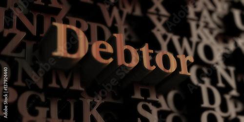 Fotografía Debtor - Wooden 3D rendered letters/message